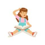 Caráter triste frustrante da menina que senta-se no assoalho com uma ilustração aberta do vetor do livro Fotos de Stock