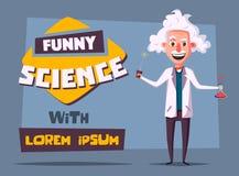 Caráter velho louco de Funny do cientista Ilustração do vetor dos desenhos animados Foto de Stock