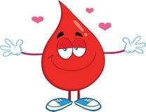 Caráter vermelho da gota do sangue com os braços abertos para abraçar Fotos de Stock Royalty Free