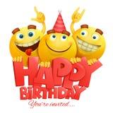 Caráteres amarelos do emoji das caras do smiley Cartão do feliz aniversario imagens de stock