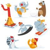 Caráteres animais bonitos que fazem atividades do inverno ilustração do vetor