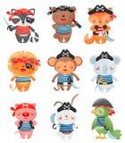 Caráteres animais dos piratas no estilo dos desenhos animados Ajuste da ilustração pequena engraçada bonito do vetor dos pira ilustração do vetor