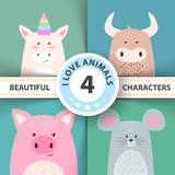 Caráteres animais unicórnio dos desenhos animados, touro, porco, rato ilustração stock
