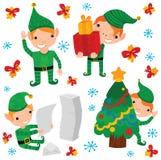 Caráteres bonitos do duende do Natal Imagens de Stock Royalty Free
