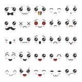 Caráteres bonitos do emoji do emoticon no estilo japonês ilustração do vetor