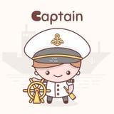 Caráteres bonitos do kawaii do chibi Profissões do alfabeto Letra C - capitão Fotografia de Stock