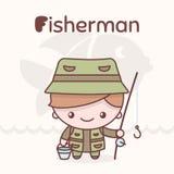 Caráteres bonitos do kawaii do chibi Profissões do alfabeto Letra F - FFisherman Imagem de Stock Royalty Free