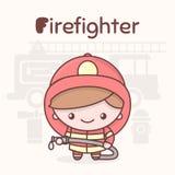 Caráteres bonitos do kawaii do chibi Profissões do alfabeto Letra F - sapador-bombeiro Foto de Stock
