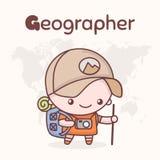 Caráteres bonitos do kawaii do chibi Profissões do alfabeto Letra G - geógrafo Foto de Stock