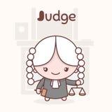 Caráteres bonitos do kawaii do chibi Profissões do alfabeto Letra J - juiz Foto de Stock Royalty Free