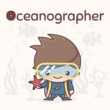 Caráteres bonitos do kawaii do chibi Profissões do alfabeto Letra O - oceanógrafo Foto de Stock