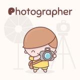 Caráteres bonitos do kawaii do chibi Profissões do alfabeto Letra P - fotógrafo Fotos de Stock Royalty Free