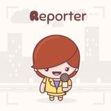 Caráteres bonitos do kawaii do chibi Profissões do alfabeto Letra R - repórter Imagem de Stock