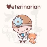 Caráteres bonitos do kawaii do chibi Profissões do alfabeto Letra V - veterinário Fotografia de Stock