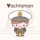 Caráteres bonitos do kawaii do chibi Profissões do alfabeto Letra Y - 'yachtsman' Fotos de Stock Royalty Free