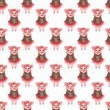 Caráteres bonitos dos porcos da aquarela ajustados isolados no fundo branco ilustração stock