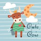 Caráteres bonitos, felizes da vaca Ideia para o t-shirt da cópia ilustração royalty free