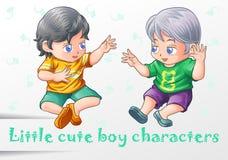 2 caráteres bonitos pequenos do menino ilustração do vetor