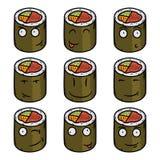 Caráteres cômicos de rolo de sushi Alimento japonês Rolo dos desenhos animados do vetor Fotos de Stock