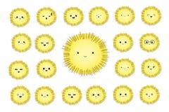 Caráteres cômicos dos desenhos animados bonitos engraçados com emoções diferentes Smiley alegres macios redondos Jogo dos ícones ilustração royalty free