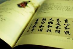 Caráteres chineses no livro aberto ilustração stock