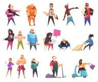 Caráteres criminosos lisos ajustados ilustração royalty free
