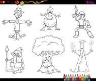 Caráteres da fantasia que colorem a página Fotografia de Stock