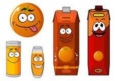 Caráteres da laranja e do suco dos desenhos animados Fotografia de Stock