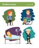 Caráteres da mulher deficiente ilustração royalty free