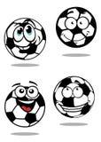 Caráteres das bolas de futebol dos desenhos animados Foto de Stock