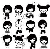 Caráteres de Emo ilustração stock