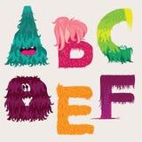 Caráteres de letras dos desenhos animados ABCDEF Imagem de Stock Royalty Free