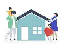 Caráteres de uma família loving e de sua ilustração da casa ilustração stock