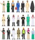 Caráteres diferentes homem da ocupação das profissões dos povos e grupo da mulher no estilo liso isolado no fundo branco ilustração do vetor
