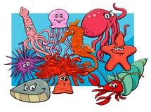 Caráteres do animal dos desenhos animados do grupo da vida marinha Fotos de Stock Royalty Free