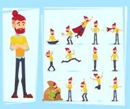 Caráteres do homem de negócio Moderno adulto na roupa ocasional Emoções e expressões, pose Personagem de banda desenhada do vetor ilustração stock