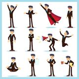 Caráteres do homem de negócio do trabalhador de escritório Adulto na roupa ocasional As emoções e as expressões, levantam o grupo ilustração stock