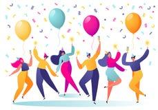 Caráteres do homem e da mulher na dança do tampão do feriado, tendo o divertimento e comendo o brinde com confetes e balões no fu ilustração royalty free