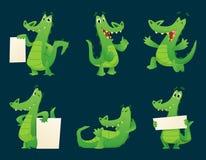 Caráteres do jacaré Grupo animal da ilustração do vetor das poses da mascote dos desenhos animados do réptil anfíbio do crocodilo ilustração do vetor