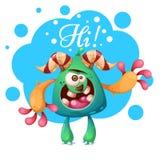 Caráteres do monstro dos desenhos animados Olá!, ilustração do heello ilustração stock