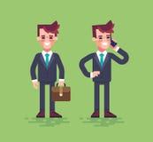 Caráteres do negócio ajustados Vetor liso Imagem de Stock