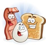 Caráteres do ovo e do brinde do bacon ilustração do vetor