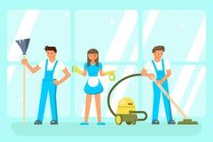 Caráteres do pessoal de serviço da limpeza Fotografia de Stock