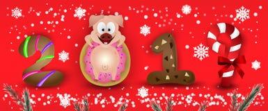 Caráteres 2019 do porco do zodíaco do ano novo feliz bonitos com flocos de neve & abeto imagens de stock royalty free