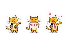 Caráteres do repórter da notícia do gato dos desenhos animados ajustados Fotografia de Stock Royalty Free