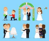 Caráteres do vetor do banquete de casamento ilustração stock