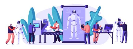 Caráteres dos coordenadores que fazem e robôs de programação Tecnologia de programação do hardware e da robótica no labora ilustração do vetor