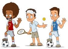 Caráteres dos jogadores de tênis do futebol dos desenhos animados ajustados Fotografia de Stock Royalty Free