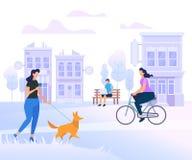 Caráteres dos jovens que andam na cidade lifestyle ilustração do vetor