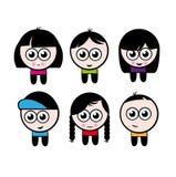 Caráteres dos meninos e das meninas dos desenhos animados Fotografia de Stock